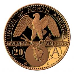 Amero Dorado. Moneda de 20 céntimos.